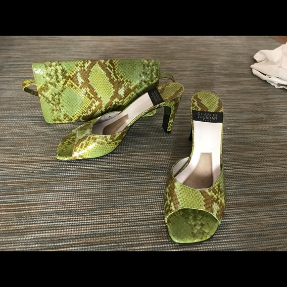 ac5f480fa09 Vintage Charles Jourdan Snakeskin Heels and Purse